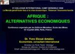 AFRIQUE : ALTERNATIVES ECONOMIQUES